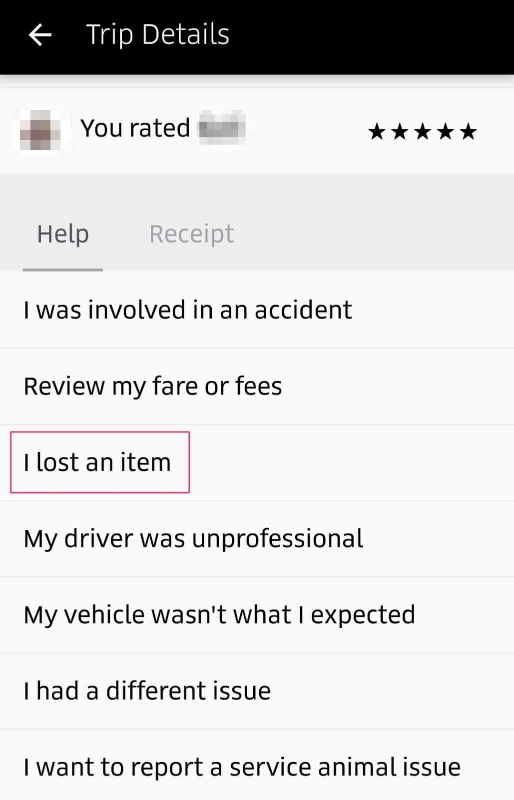 Lost item uber